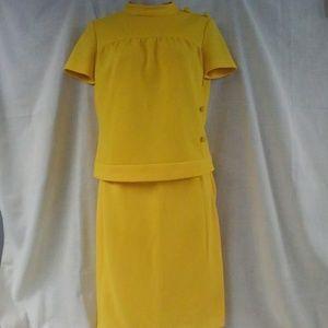 Vintage 1960-70s Sunny Yellow Skirt Set